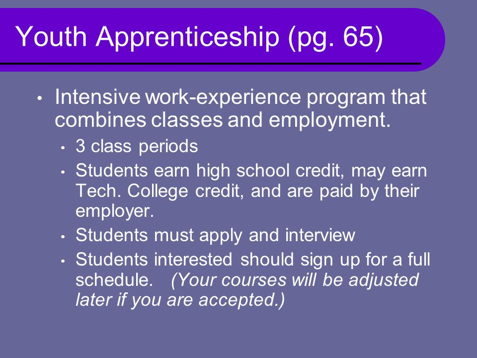 Youth Apprenticeship (pg.