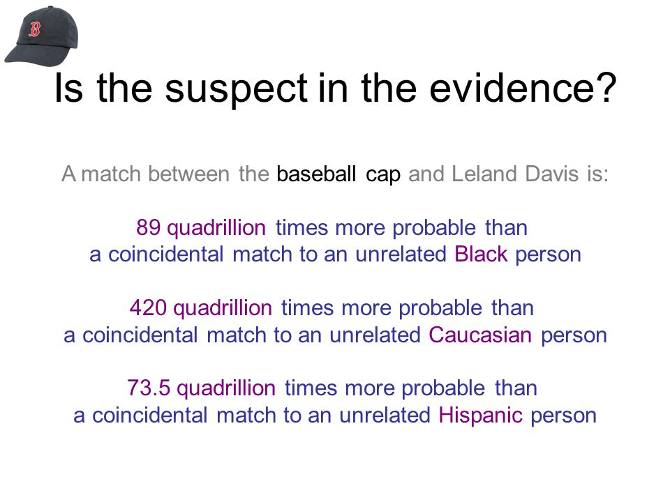 Is the suspect in the evidence? A match between the baseball cap and Leland Davis is: 89 quadrillion times more probable than a coincidental match to