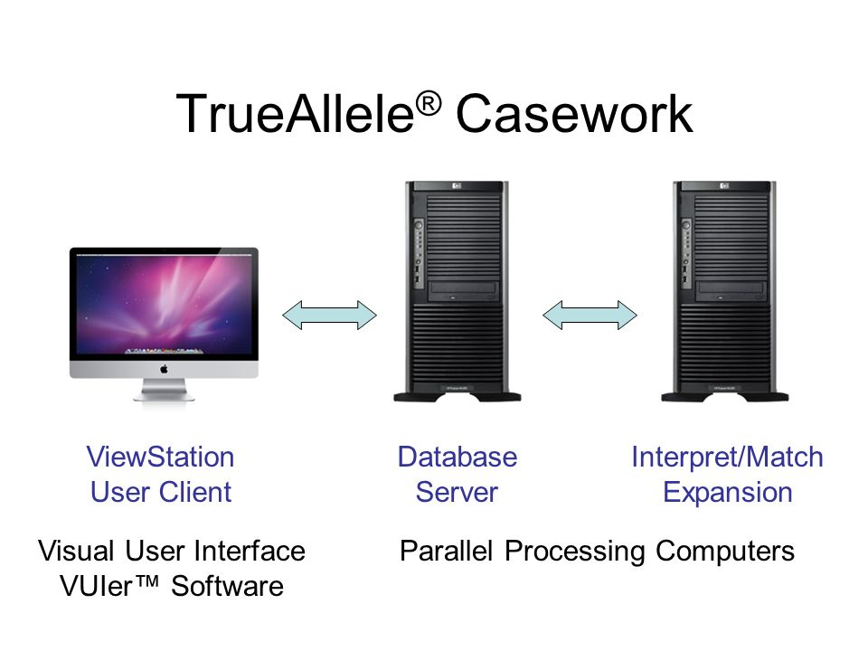TrueAllele ® Casework ViewStation User Client Database Server Interpret/Match Expansion Visual User Interface VUIer Software Parallel Processing Compu
