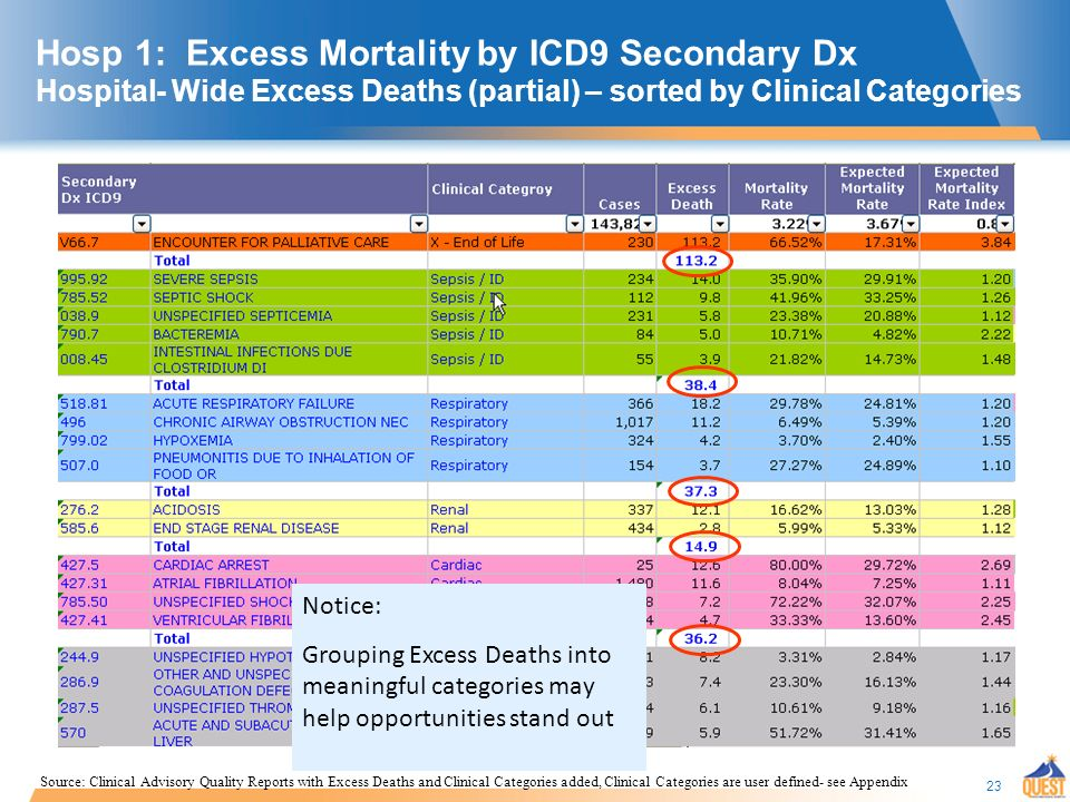 23 Hosp 1: Excess Mortality by ICD9 Secondary Dx Hospital- Wide Excess Deaths (partial) – sorted by Clinical Categories Notice: Grouping Excess Deaths into meaningful categories may help opportunities stand out Source: Clinical Advisory Quality Reports with Excess Deaths and Clinical Categories added, Clinical Categories are user defined- see Appendix