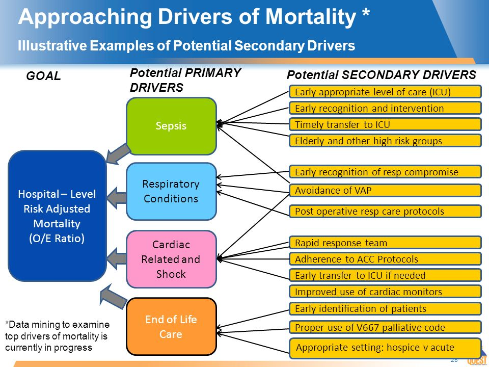 28 Approaching Drivers of Mortality * Illustrative Examples of Potential Secondary Drivers Sepsis Hospital – Level Risk Adjusted Mortality (O/E Ratio) Respiratory Conditions Cardiac Related and Shock End of Life Care Early appropriate level of care (ICU) Elderly and other high risk groups Early recognition and intervention Timely transfer to ICU Avoidance of VAP Early recognition of resp compromise Proper use of V667 palliative code Improved use of cardiac monitors Adherence to ACC Protocols Early transfer to ICU if needed Rapid response team Post operative resp care protocols Early identification of patients Potential PRIMARY DRIVERS Potential SECONDARY DRIVERS GOAL *Data mining to examine top drivers of mortality is currently in progress Appropriate setting: hospice v acute