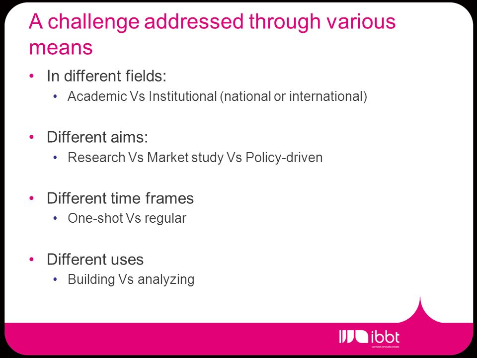 A challenge addressed through various means In different fields: Academic Vs Institutional (national or international) Different aims: Research Vs Market study Vs Policy-driven Different time frames One-shot Vs regular Different uses Building Vs analyzing