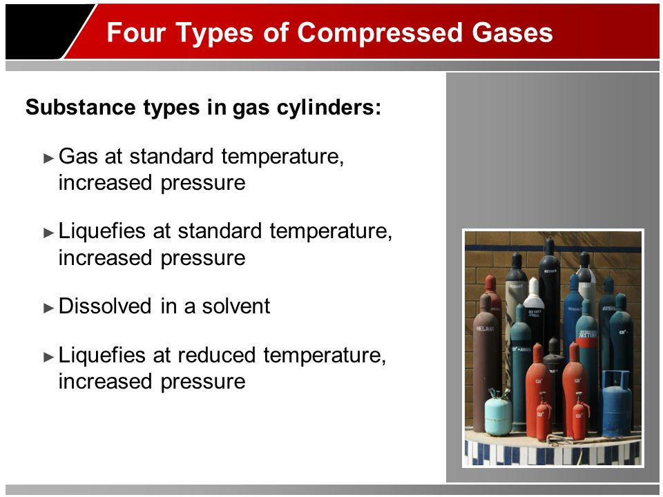 Cylinder Leaks Leak detection procedures: For flammable gas – soapy water solution Temperatures at or below freezing use 50% glycerin-water For toxic/corrosive gas – test with inert gas Establish emergency procedures