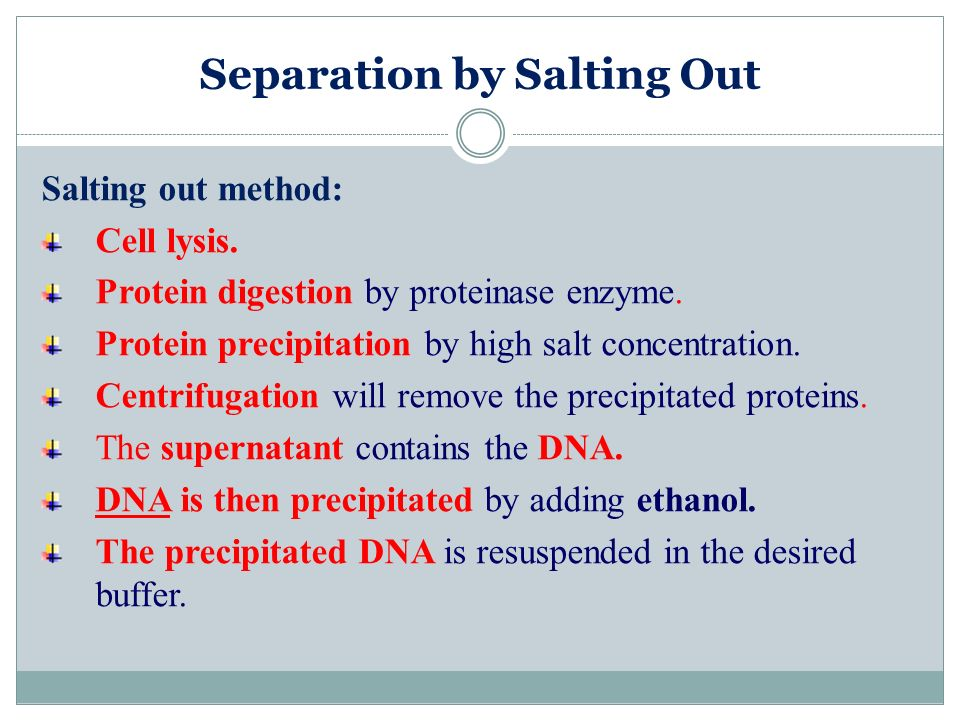 Separation by Salting Out Salting out method: Cell lysis. Protein digestion by proteinase enzyme. Protein precipitation by high salt concentration. Ce