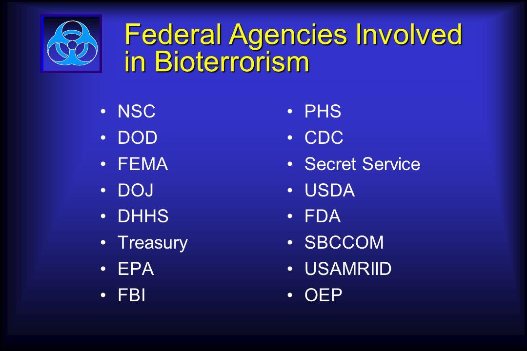 Federal Agencies Involved in Bioterrorism NSC DOD FEMA DOJ DHHS Treasury EPA FBI PHS CDC Secret Service USDA FDA SBCCOM USAMRIID OEP