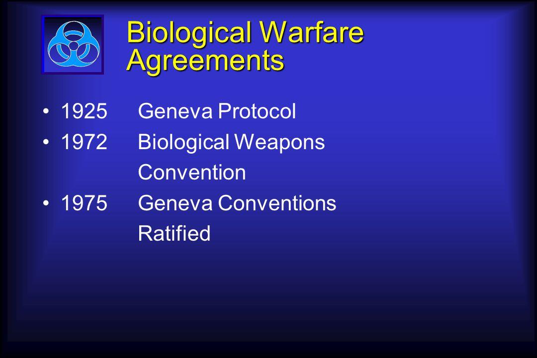Biological Warfare Agreements 1925Geneva Protocol 1972Biological Weapons Convention 1975Geneva Conventions Ratified