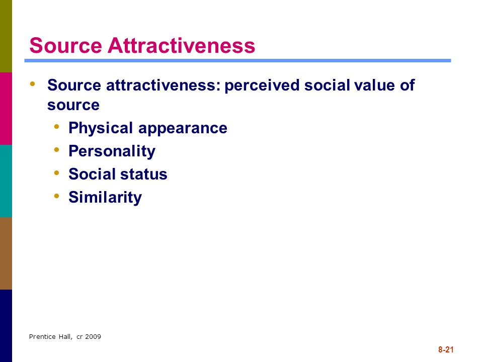 Prentice Hall, cr 2009 8-21 Source Attractiveness Source attractiveness: perceived social value of source Physical appearance Personality Social statu
