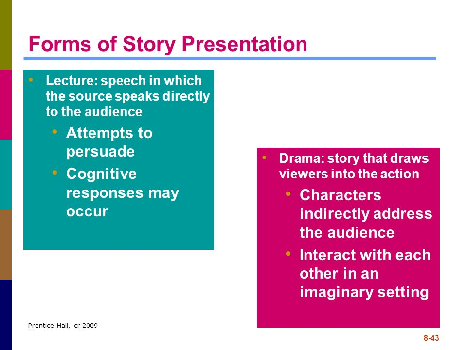 Prentice Hall, cr 2009 8-43 Forms of Story Presentation Lecture: speech in which the source speaks directly to the audience Attempts to persuade Cogni