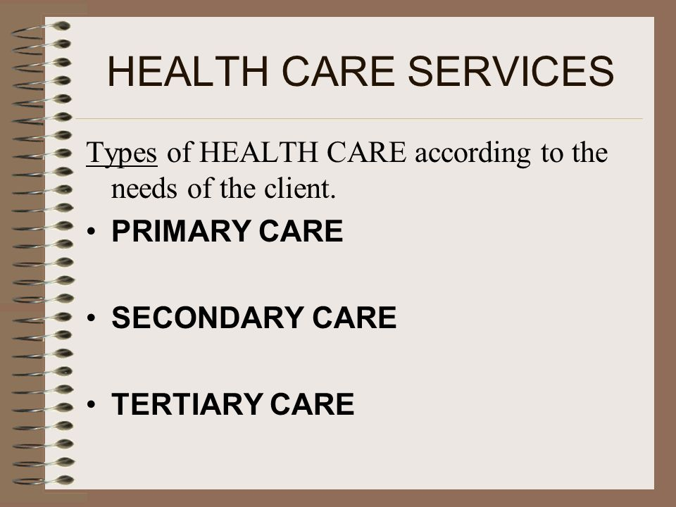 HEALTH CARE SERVICES Types of HEALTH CARE according to the needs of the client. PRIMARY CARE SECONDARY CARE TERTIARY CARE