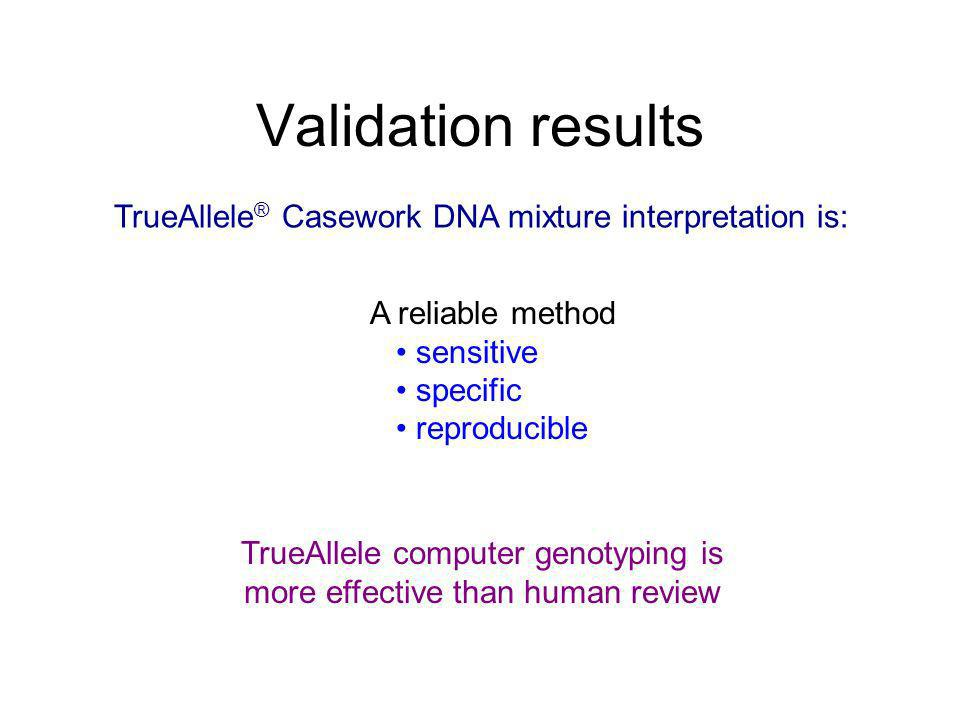 Validation results A reliable method sensitive specific reproducible TrueAllele ® Casework DNA mixture interpretation is: TrueAllele computer genotypi