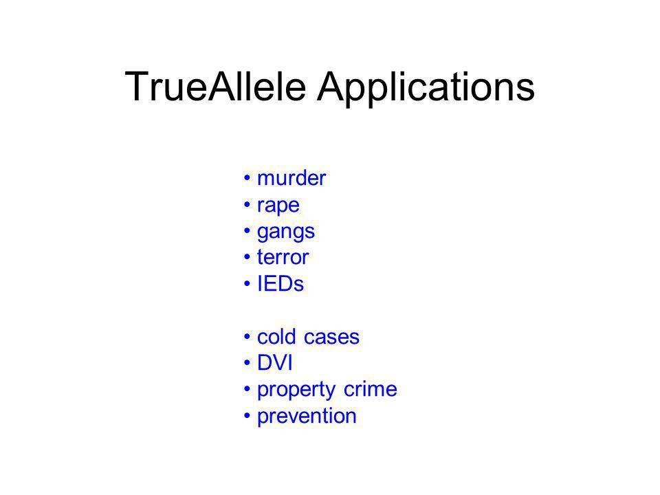 TrueAllele Applications murder rape gangs terror IEDs cold cases DVI property crime prevention