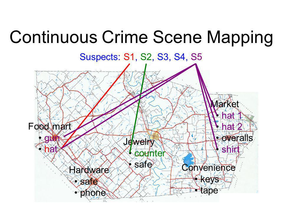 Continuous Crime Scene Mapping Food mart gun hat Hardware safe phone Jewelry counter safe Convenience keys tape Market hat 1 hat 2 overalls shirt Susp