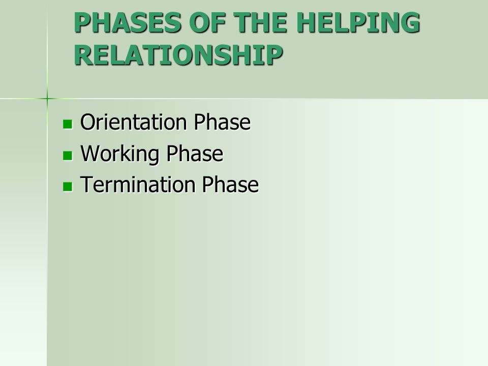 PHASES OF THE HELPING RELATIONSHIP Orientation Phase Orientation Phase Working Phase Working Phase Termination Phase Termination Phase