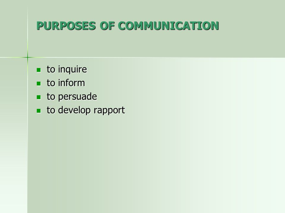 PURPOSES OF COMMUNICATION to inquire to inquire to inform to inform to persuade to persuade to develop rapport to develop rapport