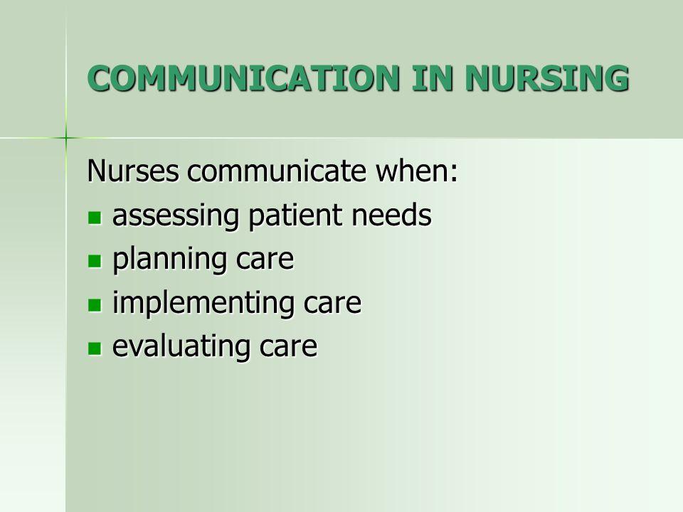 COMMUNICATION IN NURSING Nurses communicate when: assessing patient needs assessing patient needs planning care planning care implementing care implem
