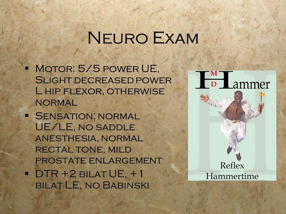 Neuro Exam Motor: 5/5 power UE, Slight decreased power L hip flexor, otherwise normal Sensation: normal UE/LE, no saddle anesthesia, normal rectal ton