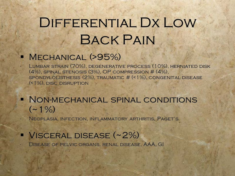 Differential Dx Low Back Pain Mechanical (>95%) -Lumbar strain (70%), degenerative process (10%), herniated disk (4%), spinal stenosis (3%), OP compre