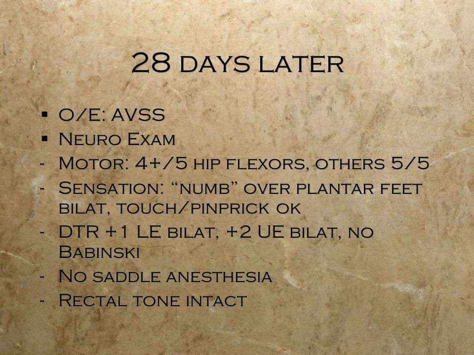 28 days later O/E: AVSS Neuro Exam -Motor: 4+/5 hip flexors, others 5/5 -Sensation: numb over plantar feet bilat, touch/pinprick ok -DTR +1 LE bilat,