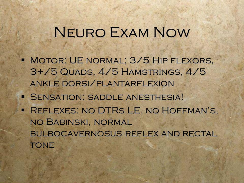 Neuro Exam Now Motor: UE normal; 3/5 Hip flexors, 3+/5 Quads, 4/5 Hamstrings, 4/5 ankle dorsi/plantarflexion Sensation: saddle anesthesia! Reflexes: n