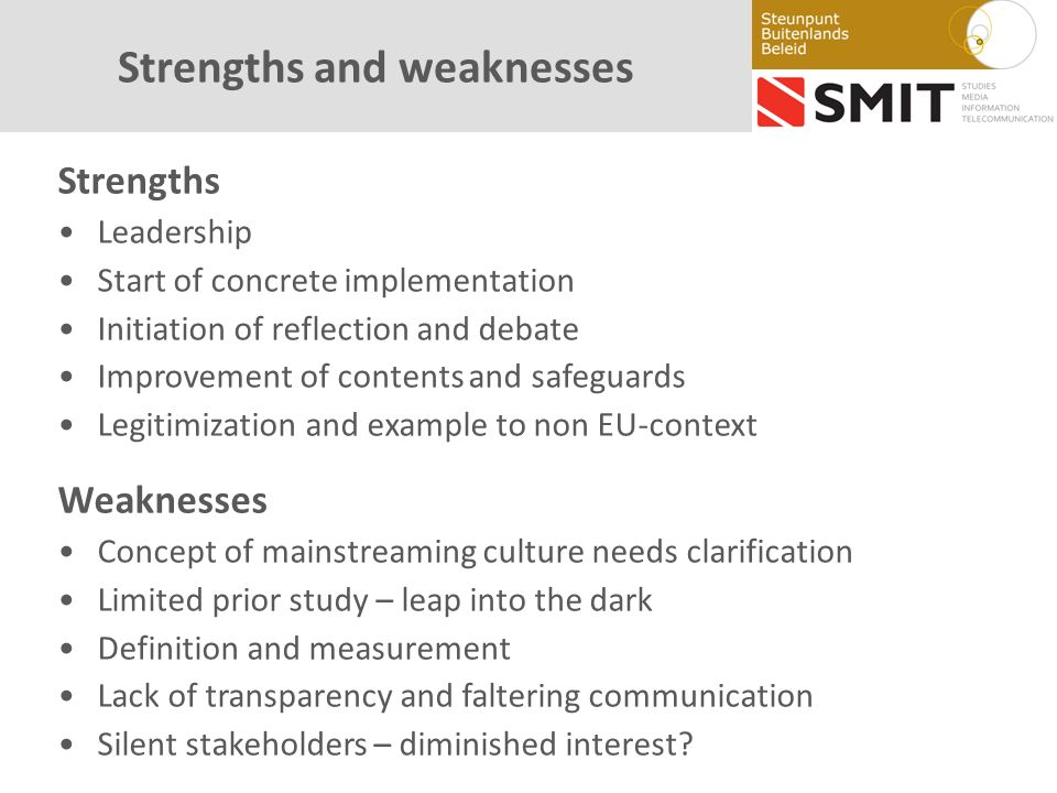 Strengths and weaknesses Strengths Leadership Start of concrete implementation Initiation of reflection and debate Improvement of contents and safeguards Legitimization and example to non EU-context Weaknesses Concept of mainstreaming culture needs clarification Limited prior study – leap into the dark Definition and measurement Lack of transparency and faltering communication Silent stakeholders – diminished interest