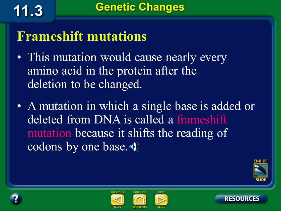 11.3 Section Summary 6.3 – pages 296 - 301 Frameshift mutations mRNA Protein Frameshift mutation Deletion of U
