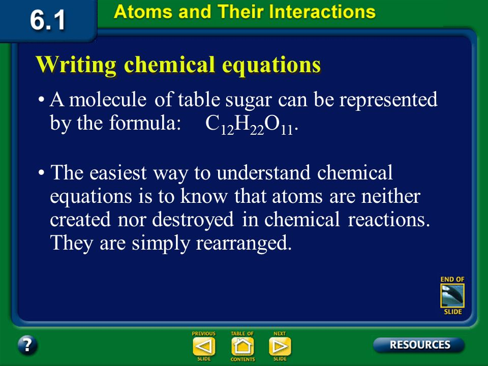 Section 6.1 Summary – pages 141-151 In a chemical reaction, substances that undergo chemical reactions, are called reactants. Writing chemical equatio
