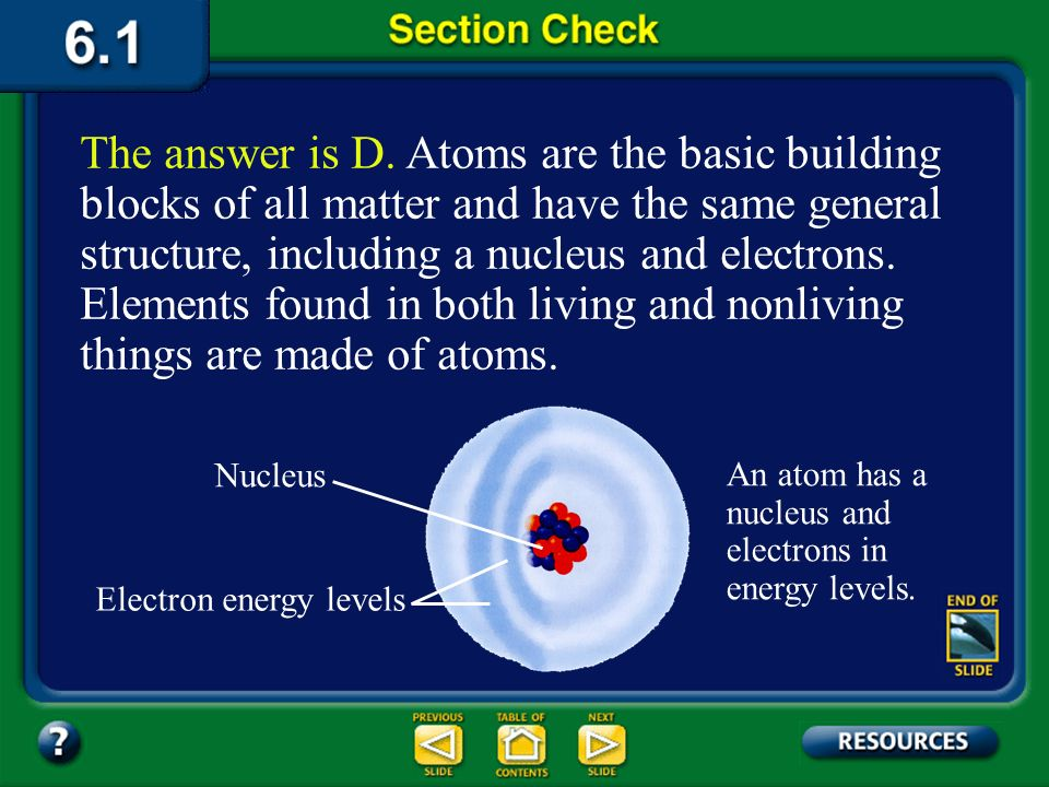 Section 1 Check The smallest particle of an element that has the characteristics of that element is a(n) __________. Question 2 D. atom C. nucleus B.