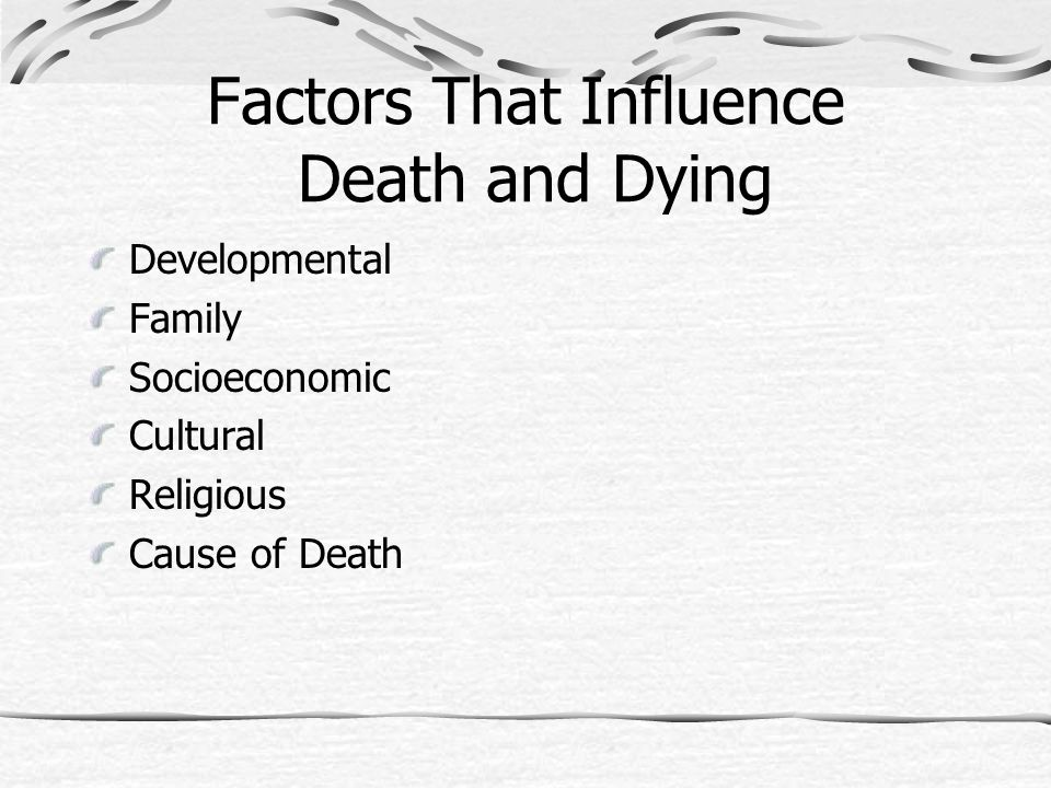 Factors That Influence Death and Dying Developmental Family Socioeconomic Cultural Religious Cause of Death
