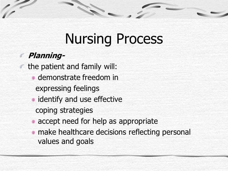 Nursing Process Planning- the patient and family will: demonstrate freedom in expressing feelings identify and use effective coping strategies accept