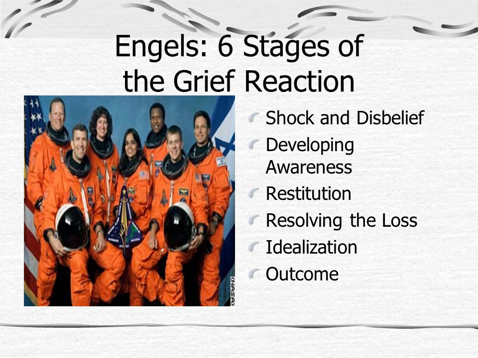 Engels: 6 Stages of the Grief Reaction Shock and Disbelief Developing Awareness Restitution Resolving the Loss Idealization Outcome
