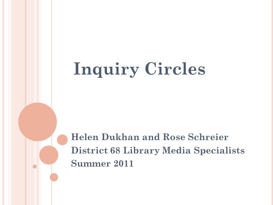 Agenda Introduction What are Inquiry Circles.Why Inquiry Circles.