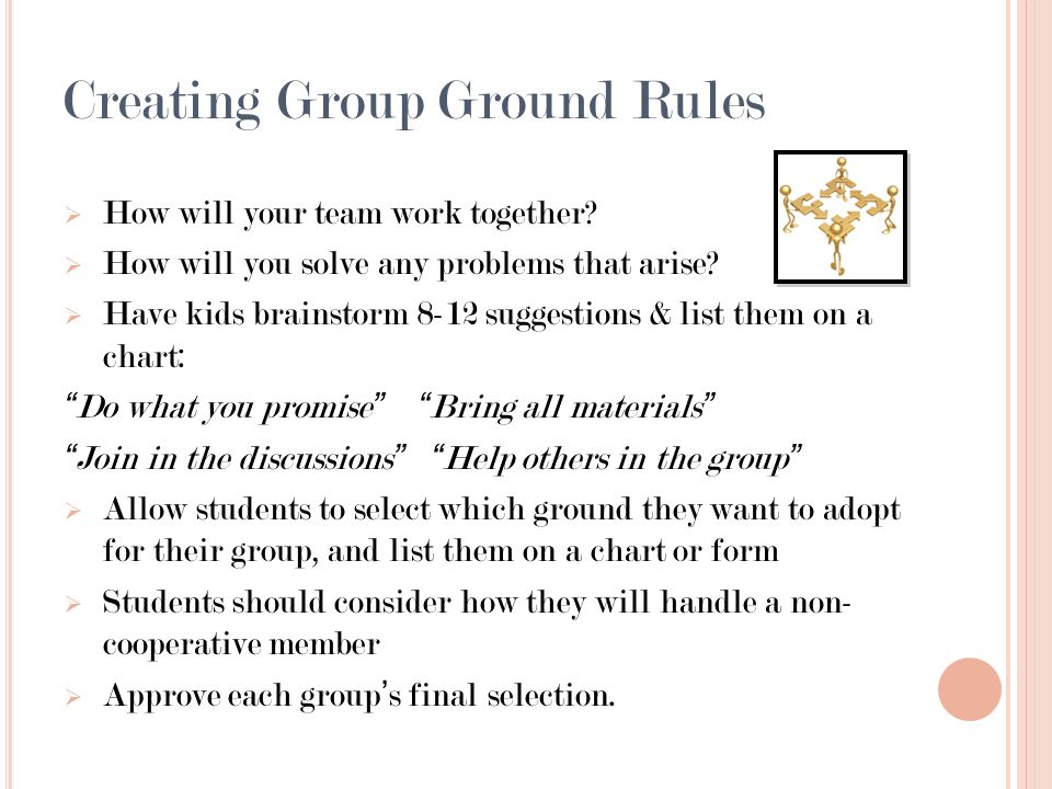 Creating Group Ground Rules How will your team work together? How will you solve any problems that arise? Have kids brainstorm 8-12 suggestions & list