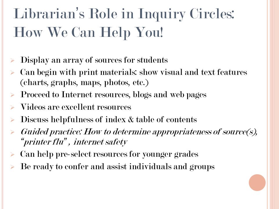 Librarians Role in Inquiry Circles: How We Can Help You.