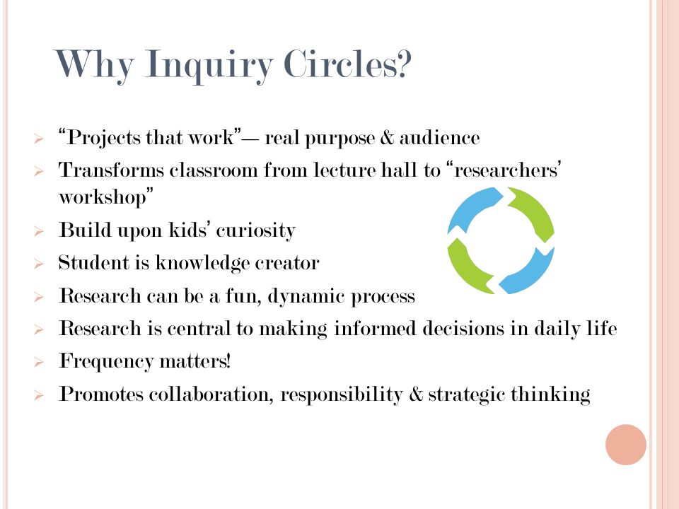 Projects that workreal purpose & audience Transforms classroom from lecture hall to researchers workshop Build upon kids curiosity Student is knowledg