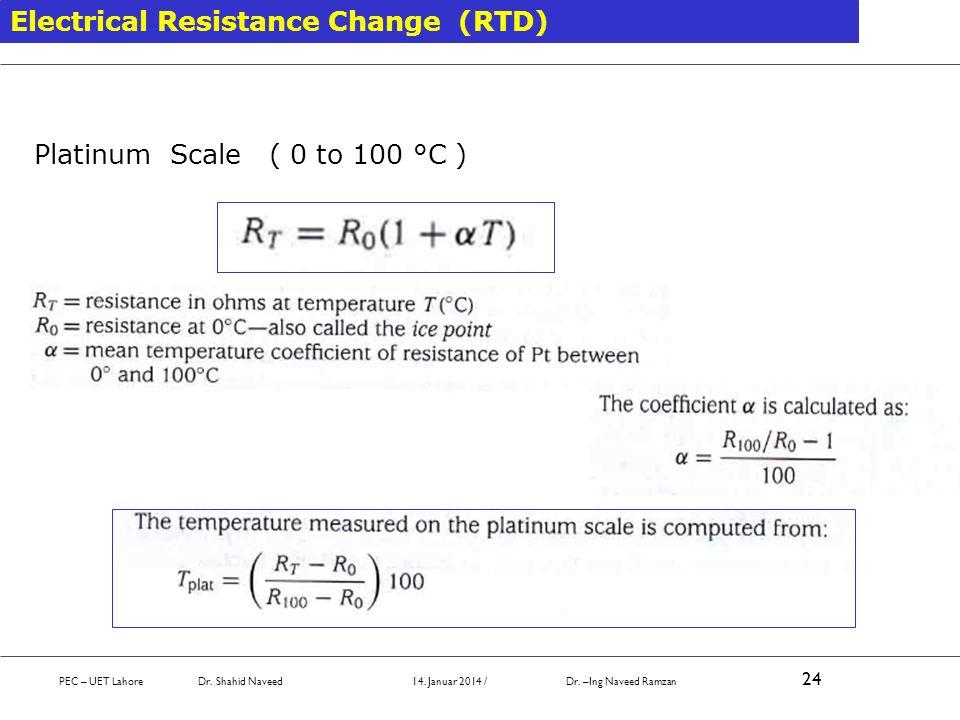 Electrical Resistance Change (RTD) Platinum Scale ( 0 to 100 °C ) PEC – UET Lahore Dr. Shahid Naveed 14. Januar 2014 / Dr. –Ing Naveed Ramzan 24