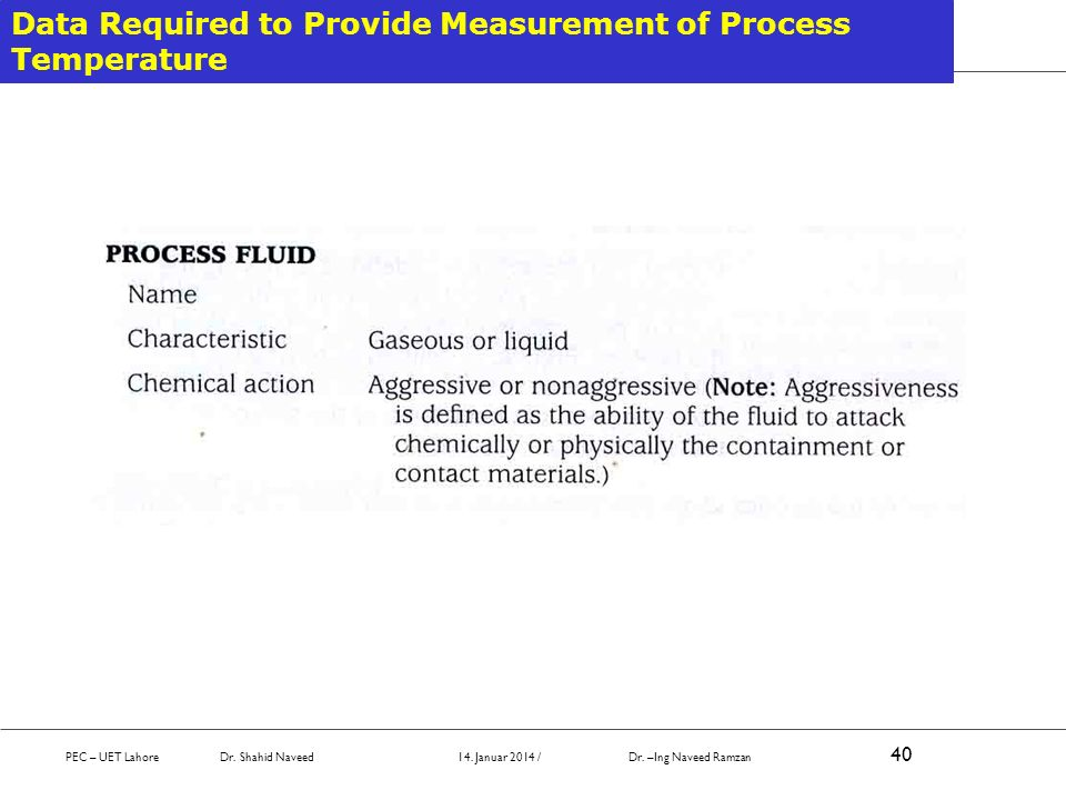 Data Required to Provide Measurement of Process Temperature PEC – UET Lahore Dr. Shahid Naveed 14. Januar 2014 / Dr. –Ing Naveed Ramzan 40