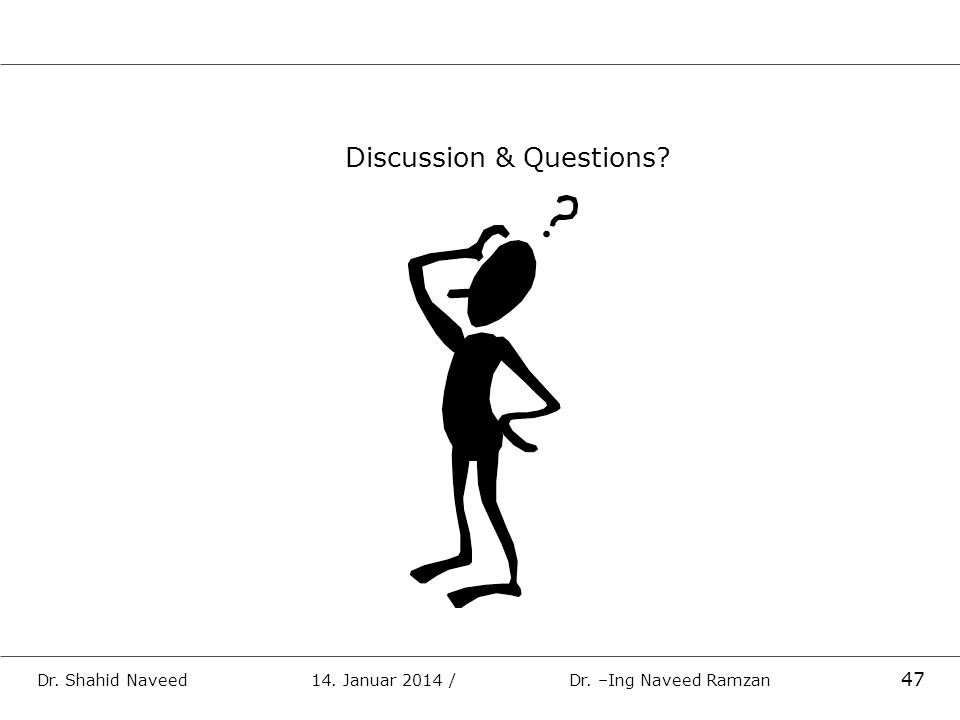 Discussion & Questions? Dr. Shahid Naveed 14. Januar 2014 / Dr. –Ing Naveed Ramzan 47