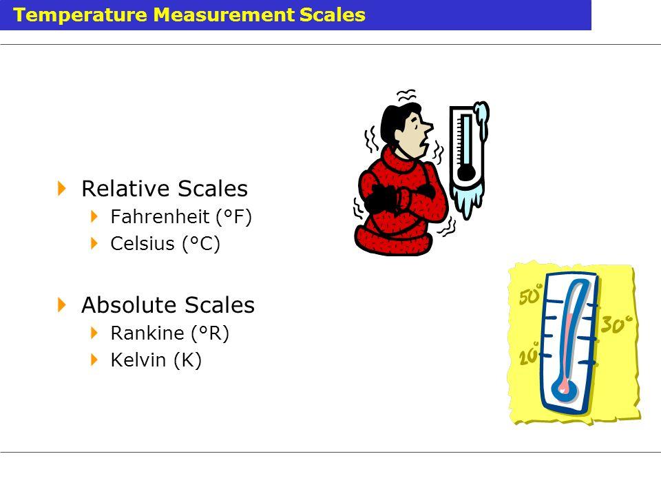 Relative Scales Fahrenheit (°F) Celsius (°C) Absolute Scales Rankine (°R) Kelvin (K) Temperature Measurement Scales