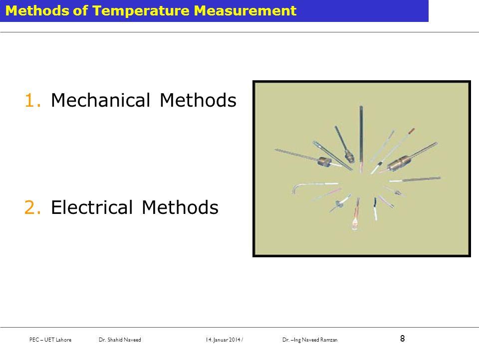 Methods of Temperature Measurement 1.Mechanical Methods 2.Electrical Methods PEC – UET Lahore Dr. Shahid Naveed 14. Januar 2014 / Dr. –Ing Naveed Ramz