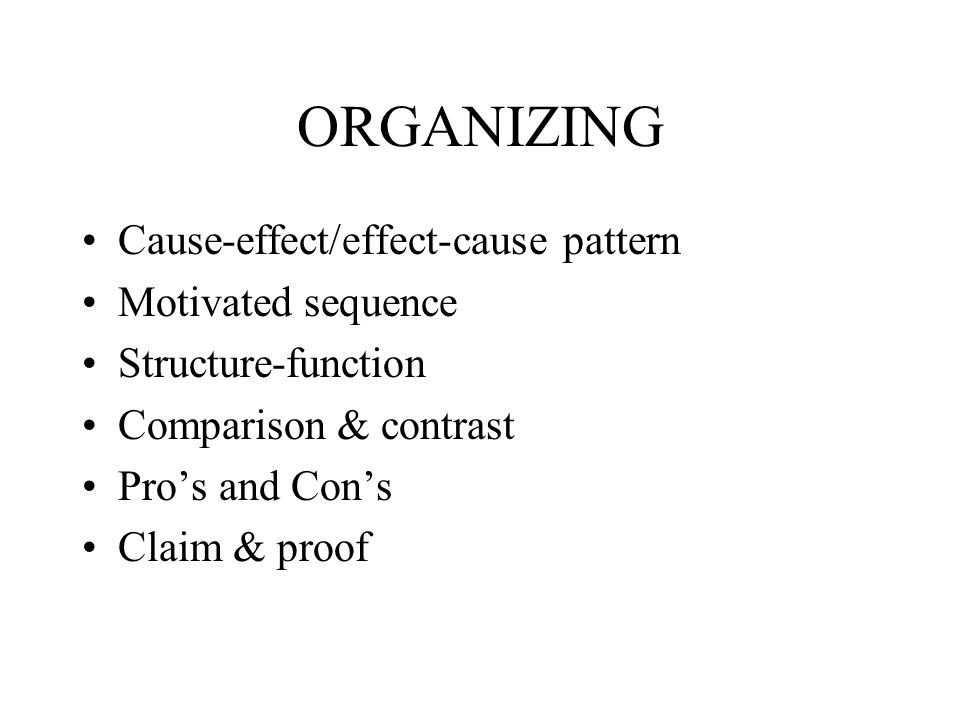 ORGANIZING Cause-effect/effect-cause pattern Motivated sequence Structure-function Comparison & contrast Pros and Cons Claim & proof
