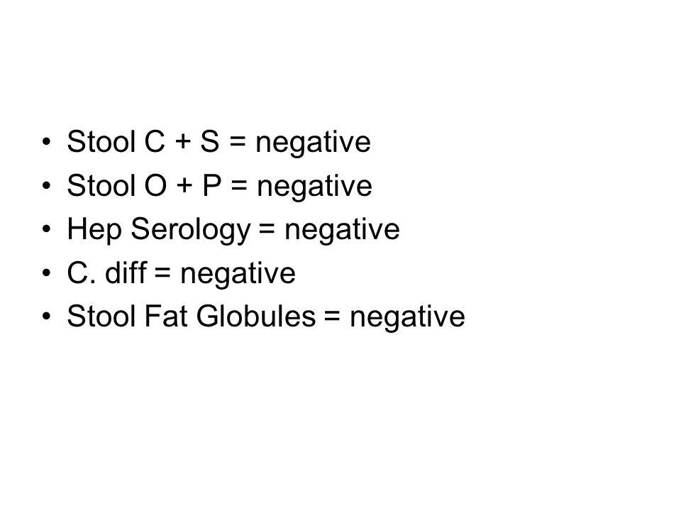 Stool C + S = negative Stool O + P = negative Hep Serology = negative C. diff = negative Stool Fat Globules = negative