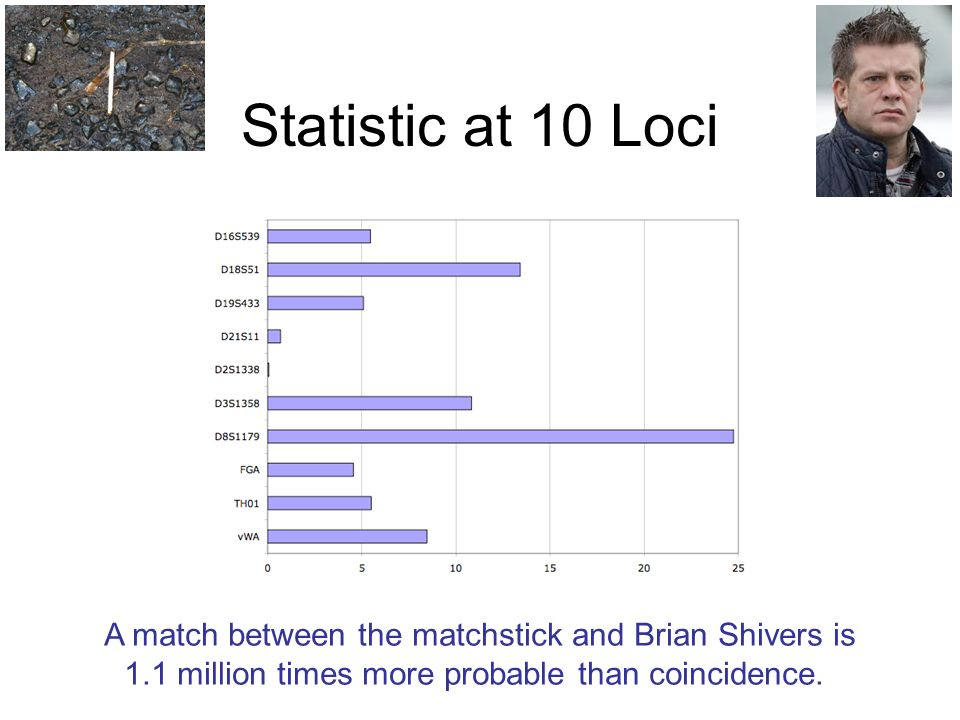 Statistic at 10 Loci A match between the matchstick and Brian Shivers is 1.1 million times more probable than coincidence.