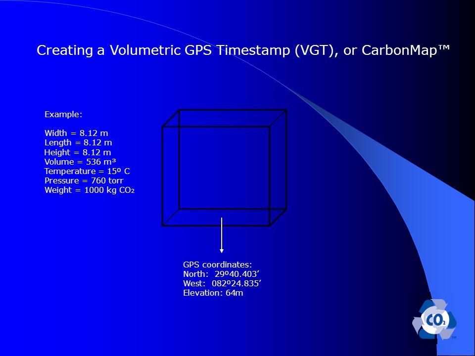 Example: Width = 8.12 m Length = 8.12 m Height = 8.12 m Volume = 536 m³ Temperature = 15º C Pressure = 760 torr Weight = 1000 kg CO 2 GPS coordinates: