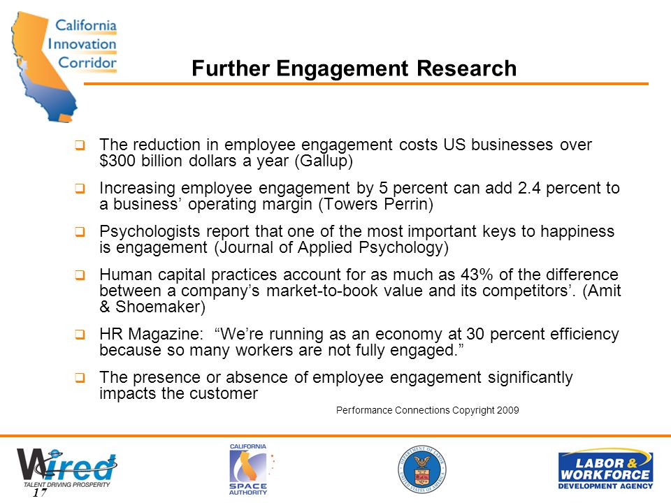 Further Engagement Research The reduction in employee engagement costs US businesses over $300 billion dollars a year (Gallup) Increasing employee engagement by 5 percent can add 2.4 percent to a business operating margin (Towers Perrin) Psychologists report that one of the most important keys to happiness is engagement (Journal of Applied Psychology) Human capital practices account for as much as 43% of the difference between a companys market-to-book value and its competitors.