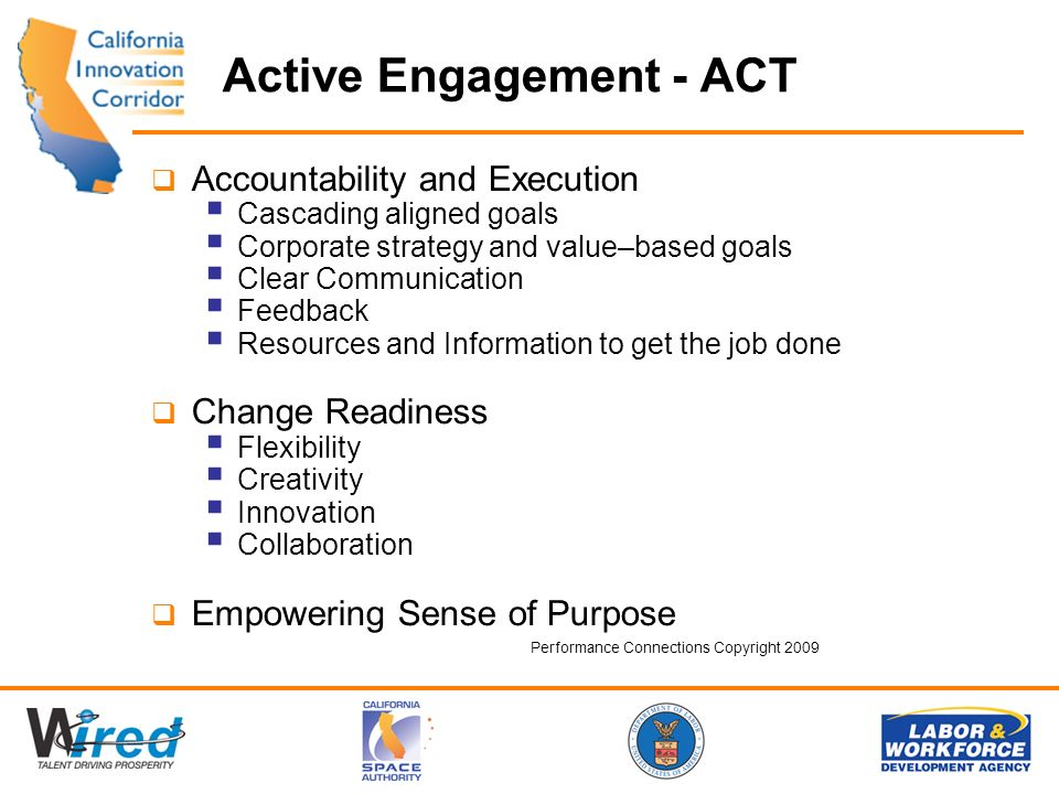 Active Engagement - ACT Accountability and Execution Cascading aligned goals Corporate strategy and value–based goals Clear Communication Feedback Resources and Information to get the job done Change Readiness Flexibility Creativity Innovation Collaboration Empowering Sense of Purpose Performance Connections Copyright 2009