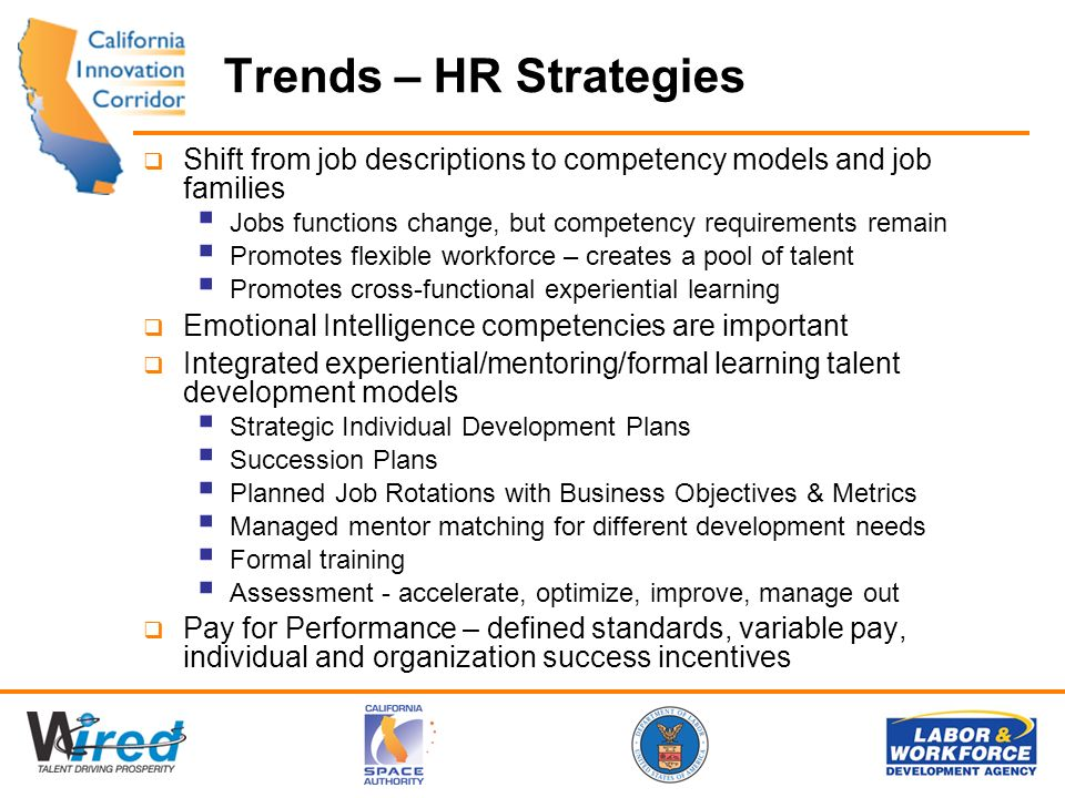 Trends – HR Strategies Shift from job descriptions to competency models and job families Jobs functions change, but competency requirements remain Promotes flexible workforce – creates a pool of talent Promotes cross-functional experiential learning Emotional Intelligence competencies are important Integrated experiential/mentoring/formal learning talent development models Strategic Individual Development Plans Succession Plans Planned Job Rotations with Business Objectives & Metrics Managed mentor matching for different development needs Formal training Assessment - accelerate, optimize, improve, manage out Pay for Performance – defined standards, variable pay, individual and organization success incentives