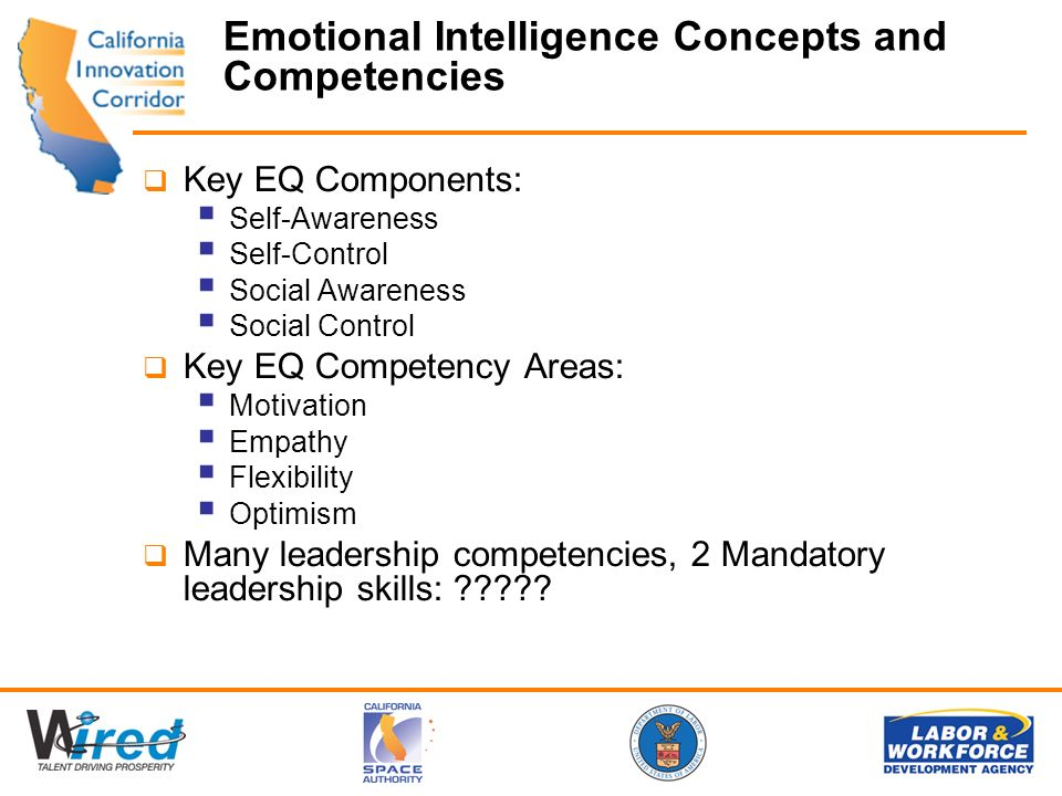 Emotional Intelligence Concepts and Competencies Key EQ Components: Self-Awareness Self-Control Social Awareness Social Control Key EQ Competency Areas: Motivation Empathy Flexibility Optimism Many leadership competencies, 2 Mandatory leadership skills: