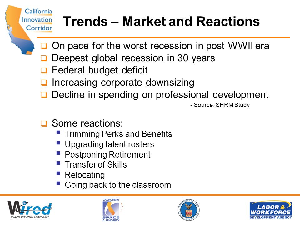 Trends – Market and Reactions On pace for the worst recession in post WWII era Deepest global recession in 30 years Federal budget deficit Increasing corporate downsizing Decline in spending on professional development - Source: SHRM Study Some reactions: Trimming Perks and Benefits Upgrading talent rosters Postponing Retirement Transfer of Skills Relocating Going back to the classroom