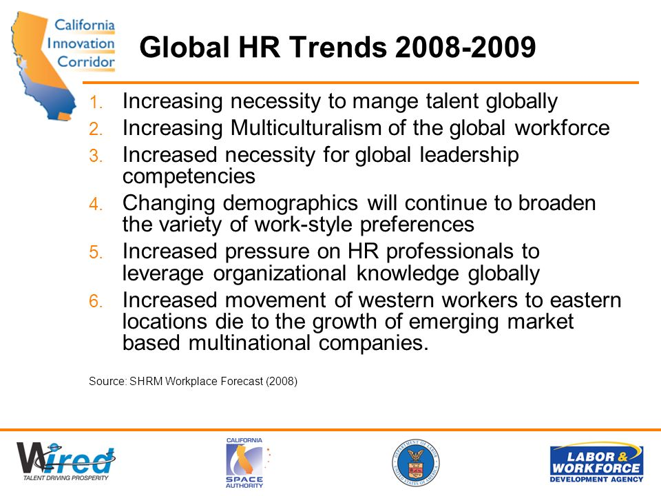 Global HR Trends 2008-2009 1. Increasing necessity to mange talent globally 2. Increasing Multiculturalism of the global workforce 3. Increased necess