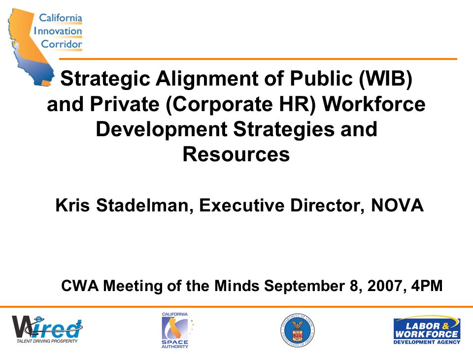 Strategic Alignment of Public (WIB) and Private (Corporate HR) Workforce Development Strategies and Resources Kris Stadelman, Executive Director, NOVA CWA Meeting of the Minds September 8, 2007, 4PM